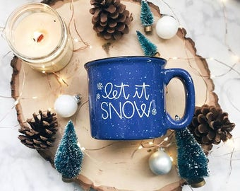 Let It Snow / Winter / Blue Campfire Mug