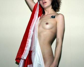 Mature Nude Canada Canadian Flag Artful Artistic Fine Art Photo