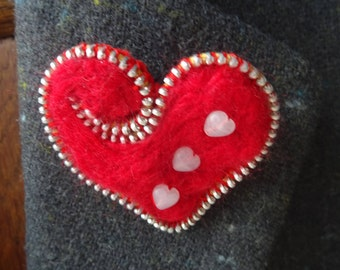 Hand made needle felted heart brooch