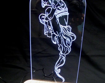 LED Edge lit Engraved Acrylic light.