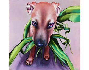 Ridgeback German Shepherd Mix - Fine Art Giclee PRINT [Oil Painting, Dog Portrait, Pet]