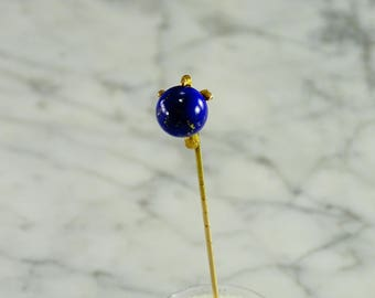 Antique Lapis Stick Pin in 14 KT Gold