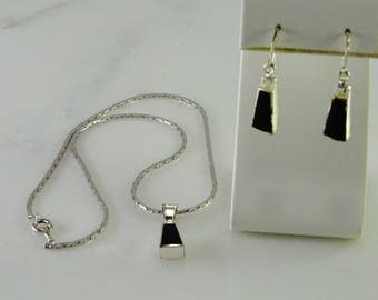 Sterling Suite with Black Inlay Necklace and pierced Earrings