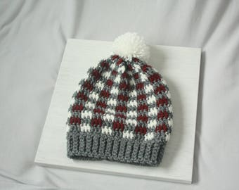 Red White Gray Plaid Handmade Crocheted Childrens Pompom Beanie
