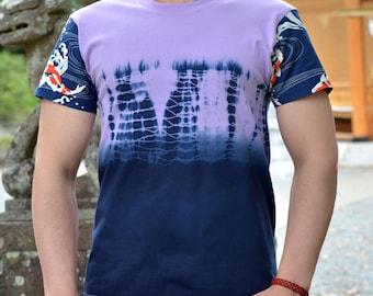 Shibori dyed handcrafted t-shirt. Japanese inspired tee. Japanese motif. Japanese fish. Tie-dye.Purple.Indigo. Limited edition.Made in Japan
