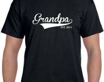 Grandpa Est TShirt Grandpa est shirt Fathers Day Gift Pregnancy Reveal to Grandparent New Grandparent Personalized Grandparent Gift ANY YEAR