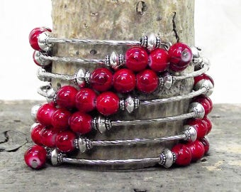 Stunning One of-a-kind, Handmade 6 Loop Memory Wire Bracelet In Rich Red and Silver Tones - One Size Fits All