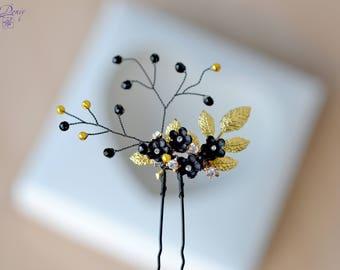 Hair pin Black crystal hair vine Black flower pin hair piece Black floral vine pin Black wedding jewelry hair black gold hair pin
