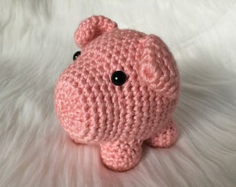 Ready to Ship - Pig Plush, Crochet Pig, Amigurumi Pig, Stuffed Pig, Pink Pig Plush, Handmade Stuffed Animal, Unique Gift, Baby Shower Gift