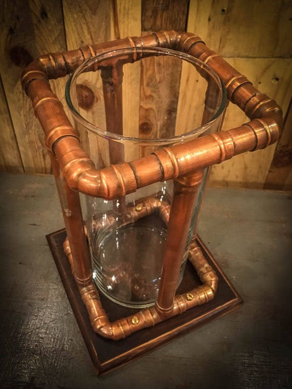 Industrial  Copper Pipe Vase / Utensil Holder