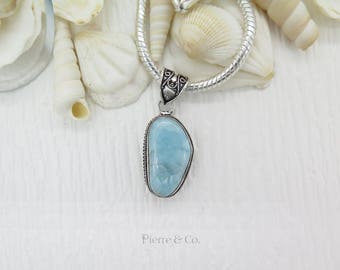 Vintage Larimar Sterling Silver Pendant and Chain