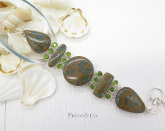 Unakite and Peridot Sterling Silver Bracelet
