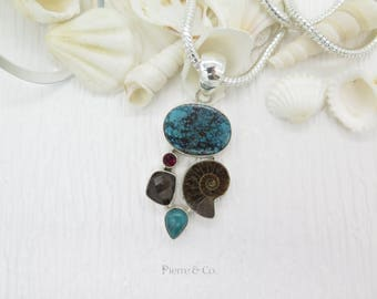 Smoky Topaz Ammonite Fossil Turquoise and Garnet Sterling Silver Pendant and Chain