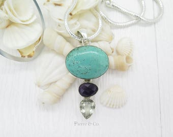 Turquoise Amethyst and Green Amethyst Sterling Silver Pendant and Chain