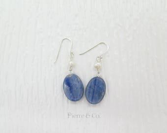 Kyanite and Fresh water Pearl Dangle Sterling Silver Earrings