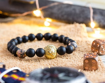 8mm - Mens bracelet, Matte black onyx & leopard skin beaded stretchy bracelet with gold Lion, lion bracelet, mens stone bead bracelet