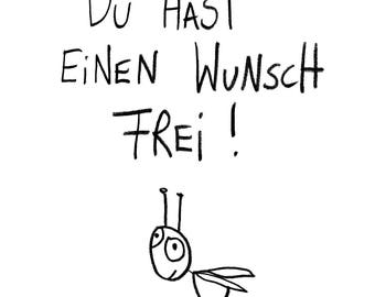 """Wish free"" postcard"