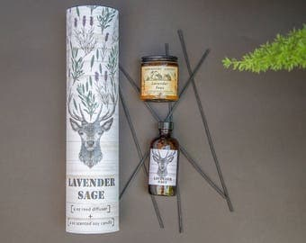 Soy Candle + Reed Diffuser Gift Set LAVENDER SAGE, Stag, natural oil diffuser, essential oil candle