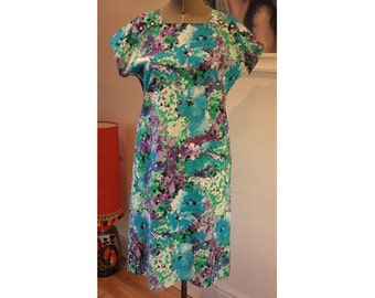 Cotton Floral Shift Dress Made in France French