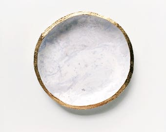 PLANETARY MARBLE in WISTERIA // Clay Ring Dish, Trinket Dish, Jewelry Dish, Personalized Gift Idea