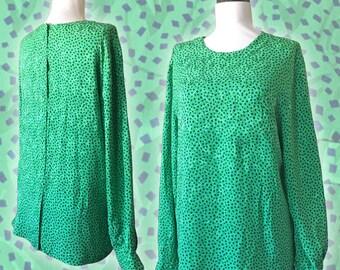 Vintage Blue + Green Confetti Print Silk Top — M/L