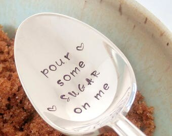 Pour Some Sugar On Me / Sugar Spoon / Engraved Spoon / Def Leppard Music Lyrics  / Quirky Gift / Coffee Spoon / Tea Time / Music Teacher
