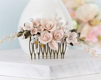 Blush Pink Bridal Comb, Pale Pink Wedding Comb, Floral Vine Hair Pin, Pink Gold wedding Comb, Rhinestone Pearl Comb, Blush Wedding.