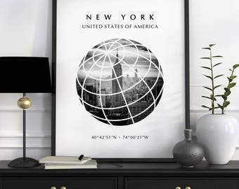 New York City, New York City Print, New York, NYC Print, New York Coordinates, City Prints, New York Print, NYC Travel Poster, NYC Poster