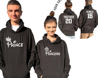 Prince Princess couple hoodies together since Your date, personalized Back custom Dates, Comes in a pair, Matching hoodie