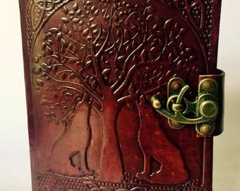 Leather Journal, Weirwood and Wolves Leather Journal, Heart Tree and Wolves, Wolf Journal, Blank Leather Notebook