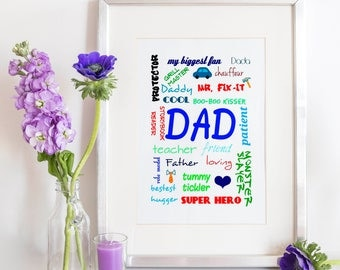 Printable Dad Art, Father's Day Gift, Dad Definition Print, Father Definition Print, Dad Collage Print, Father Collage Print, Dad Word Print