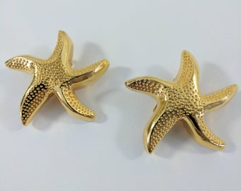 Vintage Escada Clip on Star Fish Earrings//Gold Tone//Gifts For Her//Jewellery//Jewelry
