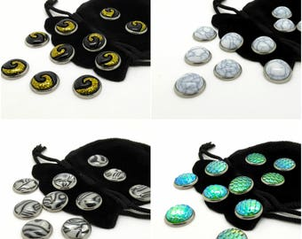 Gaming tokens - Tabletop board game pieces - resin cabochon - guild tokens - ten counters with pouch - fishermen masons alchemist hunter