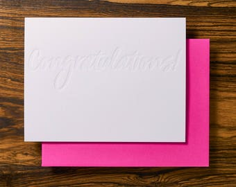 Congratulations Modern Letterpress Stationery Note Card