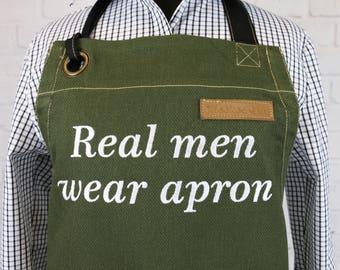 Personalized Apron / Custom Apron / Green Canvas Apron / Kitchen Apron / Monogram Apron U3009