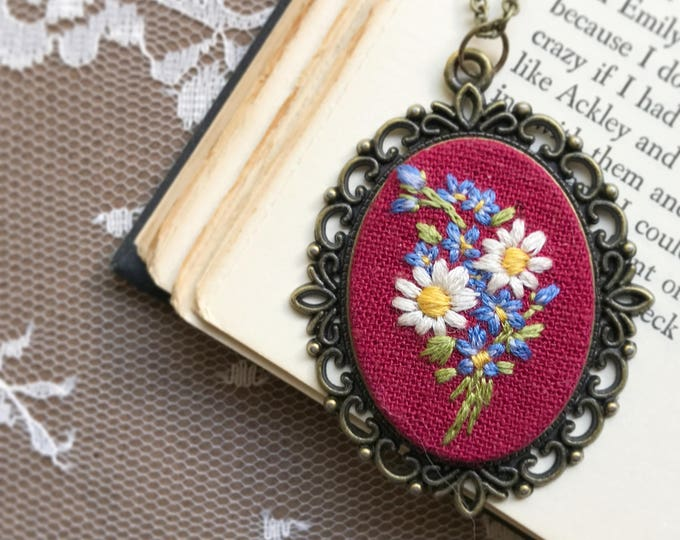 Daisies and Forget Me Nots Hand Embroidered Pendant