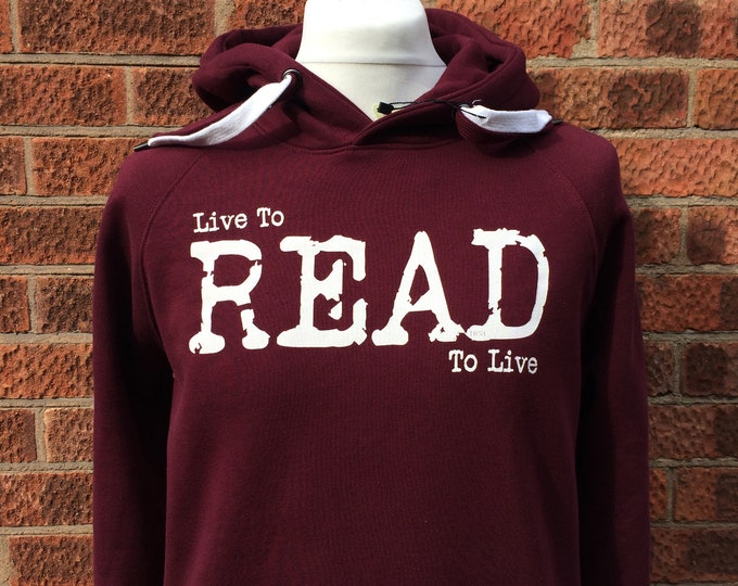 Featured listing image: Book lovers Hoodie, Gift for Book Lover, Gift for Reader, Constant Reader, Live to Read Hoodie, Readers Hoody, Gift for Bookworm, Red Hoodie