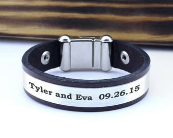 Personalized Bracelet, Keepsake Bracelet, Mementos Gift, Wedding Anniversary Gift, Name bracelet, Date bracelet, personalized memorial gift