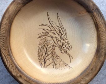 Hand Turned Sycamore Dragon Bowl