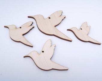 Wooden Bird Shape for Crafts - Laser Cut