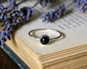 Black Onyx Ring 925 - Stacking Ring - Black Ring - Black Gemstone - Self Control, Intuition, Decisions, Protection  - Leo
