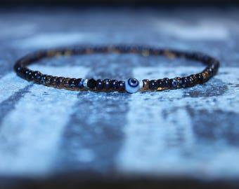 Evil Eye Bracelet, Men's Evil Eye Bracelet, Black Spinel Gem, Toho bead bracelet, Pure Silver, Mens gift for him Husband Gift