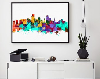 Miami Skyline, Miami Print, Miami Decor, Miami Painting, Watercolor Miami, Florida Art, Miami Theme, Bedroom Decor (N157)