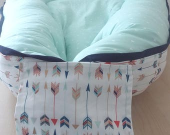 Cordless Mint Baby Nest /  Babynest w/ Colorful Arrows shipping within US/U.S