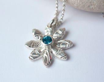 Daisy Necklace Sterling Silver Swiss Blue Topaz Gem Silver Necklace Bezel Set Blue Gemstone Necklace Carved Flower Pendant Vivid Blue gem
