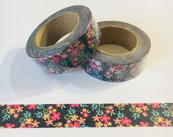 Vintage Seventies Floral Washi Tape 70's - 1 Roll or Samples - Choose Your Size