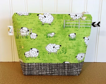 Sheep Project Bag, Knitting Project Bag, Knitting Bag, Knitting Pouch, Yarn bag, Small project bag, Knitting Tote Bag