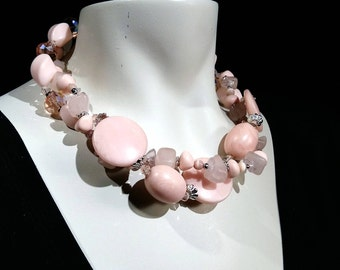 Big and bold,Soft Pink statement choker, rose Quartz, Crystal and lucite, Easy upgrade