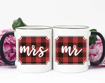 Buffalo Plaid Christmas Gifts, Mr and Mrs Plaid Gifts, Christmas Gifts Buffalo Plaid, Mr and Mrs Mugs, Buffalo Plaid Wedding Gift, Christmas