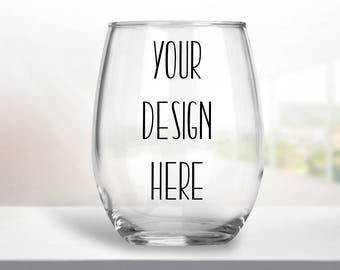 Custom Wine Glass, Stemless Wine Glass, Personalized Glasses, Bridesmaid Gift, Christmas Gift, Stocking Stuffer, Secret Santa Gift